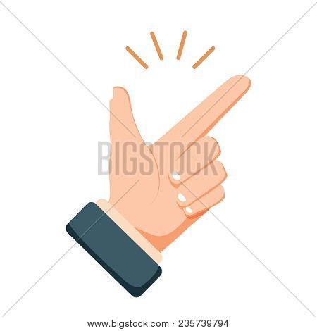 Easy Concept: Finger Clicking Flat Cartoon Style Icon. Modern Vector Illustration. Human Emotion Exp