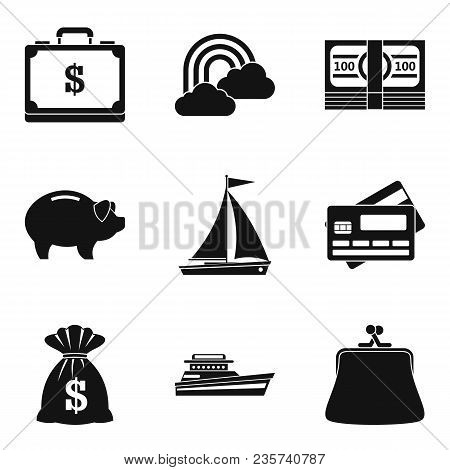 Artificial Reservoir Icons Set. Simple Set Of 9 Artificial Reservoir Vector Icons For Web Isolated O