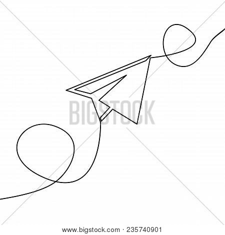 Continuous One Line Drawing Of Isolated Vector Object Paper Airplane Is Flying