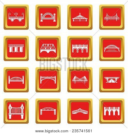 Bridge Icons Set Vector Red Square Isolated On White Background