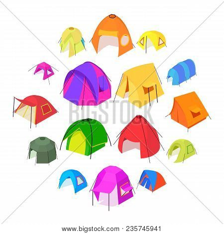 Tent Forms Icons Set. Isometric Illustration Of 16 Tent Forms Vector Icons For Web