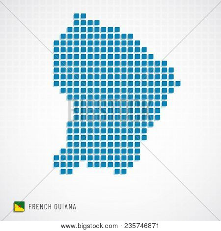 French Guiana Map And Flag Icon
