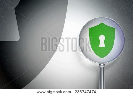 Protection Concept: Magnifying Optical Glass With Shield With Keyhole Icon On Digital Background, Em