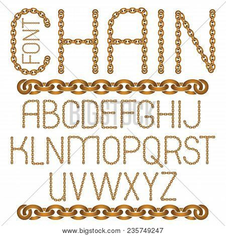 Vector English Alphabet Letters Collection. Capital Decorative Font Created Using Connected Chain Li