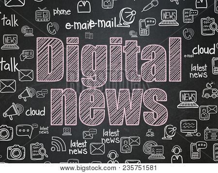 News Concept: Chalk Pink Text Digital News On School Board Background With  Hand Drawn News Icons, S