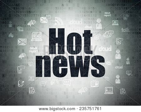 News Concept: Painted Black Text Hot News On Digital Data Paper Background With  Hand Drawn News Ico