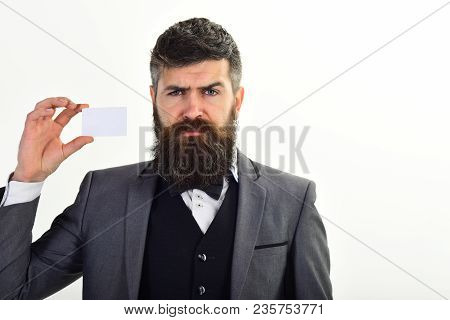 Businessman Holds Plastic Credit Card, Isolated On White. Creditor Offers Create Banking Account, Ge