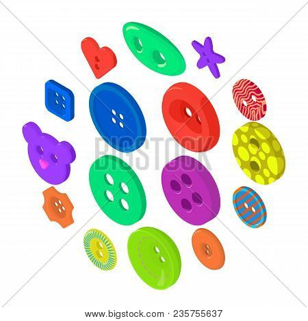 Clothes Button Icons Set. Isometric Illustration Of 16 Clothes Button Icons Set Vector Icons For Web
