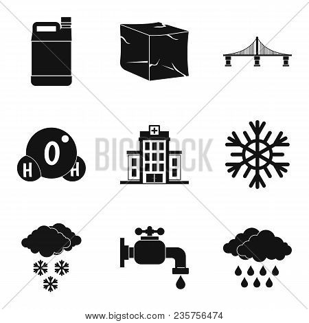 Supply Of Water Icons Set. Simple Set Of 9 Supply Of Water Vector Icons For Web Isolated On White Ba