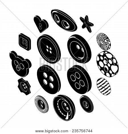 Clothes Button Icons Set. Simple Illustration Of 16 Clothes Button Icons Set Vector Icons For Web