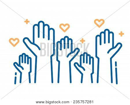 Volunteers And Charity Work. Raised Helping Hands. Vector Thin Line Icon Illustrations With A Crowd