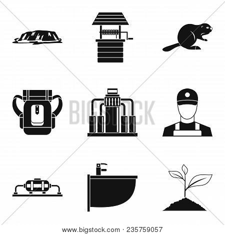 Water Spring Icons Set. Simple Set Of 9 Water Spring Vector Icons For Web Isolated On White Backgrou