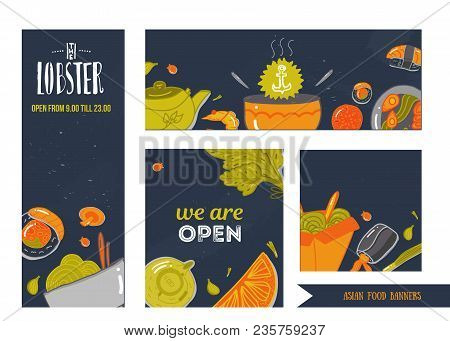 Set Of Seafood Banners Vector Illustration. Doodle Hand Drawn In Doodle Style. Asian Restaurant Food