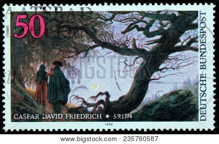 Luga, Russia - February 8, 2018: A Stamp Printed By Germany Shows Painting Man And Woman Contemplati