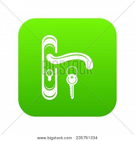 Door Handle And Key Icon Green Vector Isolated On White Background
