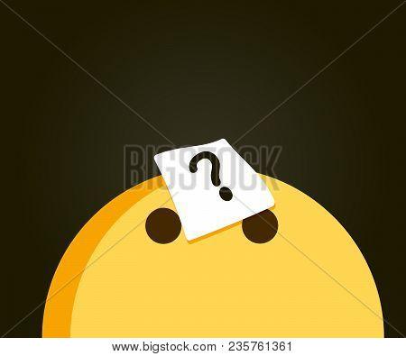 Cute Emoji Looking Up At A Question Mark Indicating A Problem. Problem Solving, Curiosity, Questions