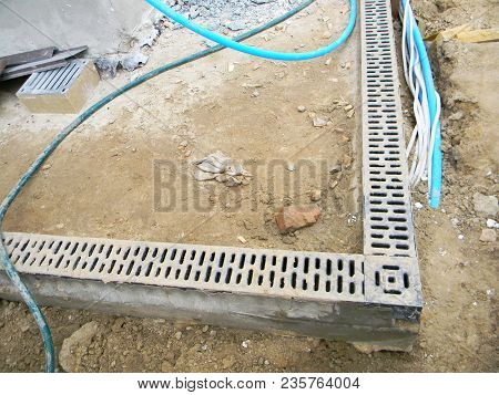 Rainwater Drainage System Installation. Installing Drainage System In House Building Construction Si