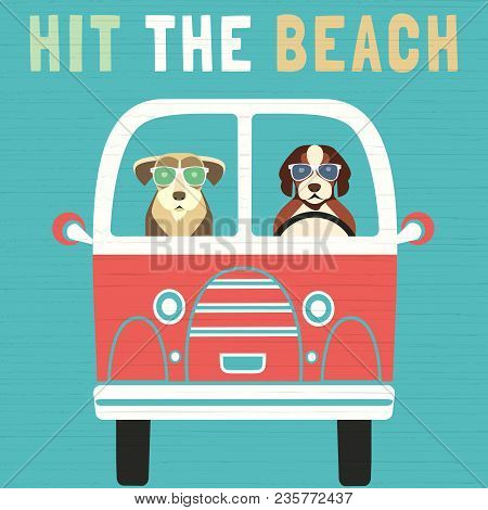 Time For Adventure. Cute Comic Cartoon. Colorful Humor Retro Style. Dogs Go By Bus To Beach For Fun