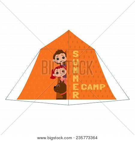 Kids And Dogs Summer Camp Icon. Cute Colorful Cartoon. Happy Children Boy And Girl, Dog Pet In Campi