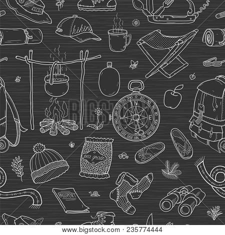 Tourism Background. Camping. Tourism And Travel. Vector Seamless Pattern