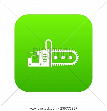 Chainsaw Icon Digital Green For Any Design Isolated On White Vector Illustration