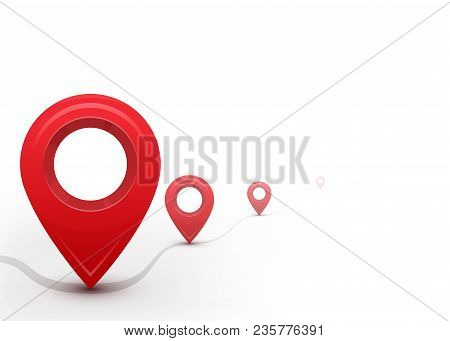 Road With Map Pointers. Way, Path, Direction Line. Copy Space. Isolated On White Background. Vector