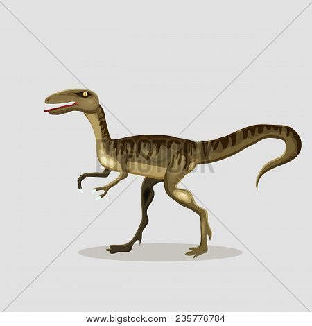Vector Cartoon  Illustration Of A Dinosaur.  Velociraptor.
