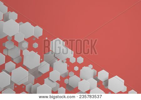 White Hexagons Of Random Size On Red Background