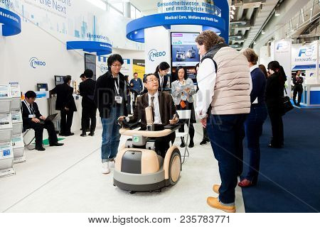 Hannover, Germany - March, 2017: Cyberdyne Robot Suit Hal For Providing Medical Treatments For Funct
