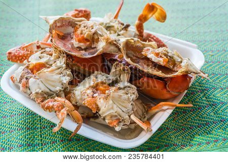 Boiled Or Steamed Sea Flower Crab Premium Grade Is A Seafood Display For Sale At Thai Street Food Ma