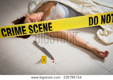 Crime Scene With Woman In Lingery Dead