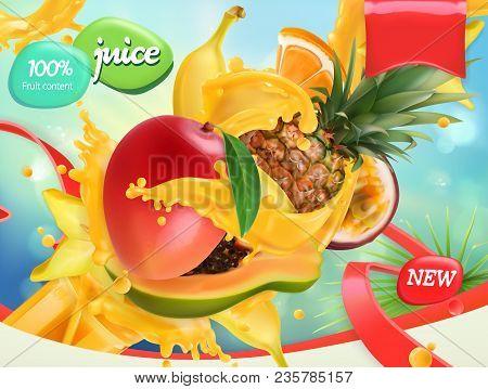 Mix Fruits. Splash Of Juice. Mango, Banana, Pineapple, Papaya. 3d Realistic Vector, Package Design