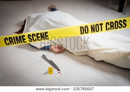 A Crime Scene With A Dead Woman