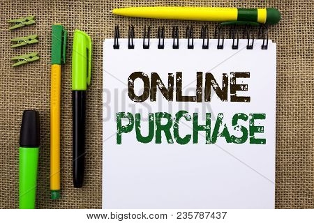 Word Writing Text Online Purchase. Business Concept For Buy Things On The Net Go Shopping Without Le