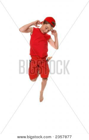 Funny Face Boy Hopping Or Dancing