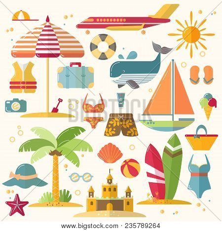 Summer Holiday, Tourism And Vacation Flat Icons. Vector Illustration Of Summer Vacation Accessories,