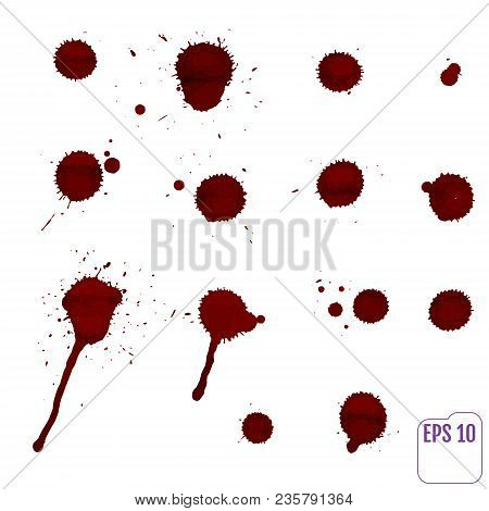 Dripping Blood Isolated On White.