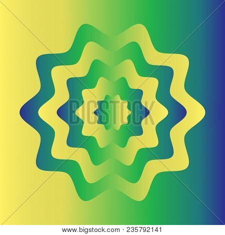 Colorful Flower Wheel Gradient Background. Blue Yellow Green Color.