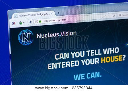 Ryazan, Russia - March 29, 2018 - Homepage Of Nucleus Vision Crypto Currency On The Display Of Pc, W