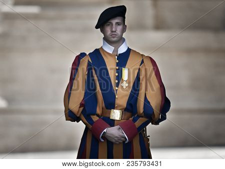 Rome, Italy - June 20, 2011: Papal Swiss Guard In Uniform. Currently, The Name Swiss Guard Generally