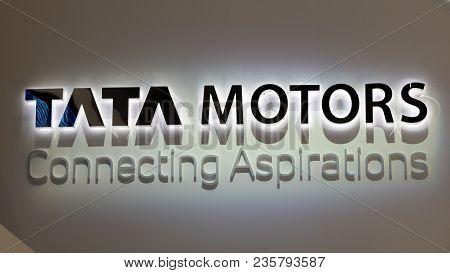 Geneva, Switzerland - March 7, 2018: Logo Of The Indian Automotive Manufacturing Company Tata Motors