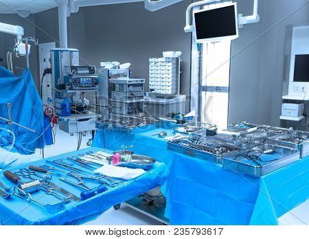 Hospital Equipment And Medical Devices In A Modern Operating Room.