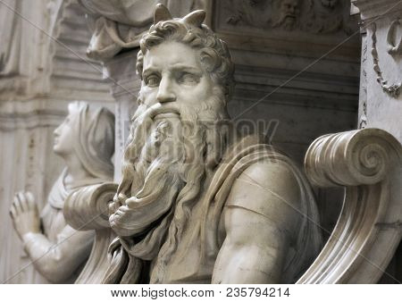 Rome, Italy - June 20, 2011: Famous Sculpture Of  Moses By Michelangelo, Part Of The Tomb Of Pope Ju
