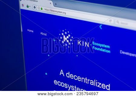 Ryazan, Russia - March 29, 2018 - Homepage Of Kin Crypto Currency On The Display Of Pc, Web Address