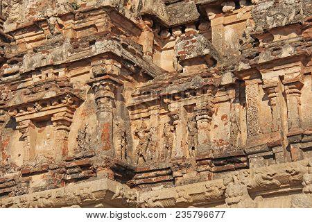 Hazara Rama Temple In Hampi, Karnataka, India. Unesco World Heritage Site. Carving Stone Ancient Bac