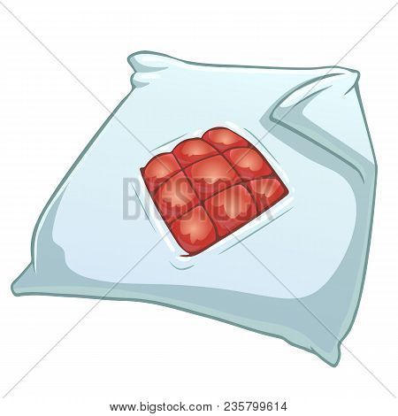Cartoon Duvet Cover With Red Blanket. Vector Color Illustration Of Duvet Cover For Kids