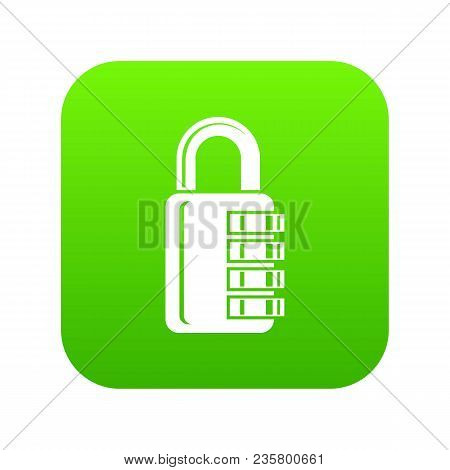 Combination Lock Icon Green Vector Isolated On White Background