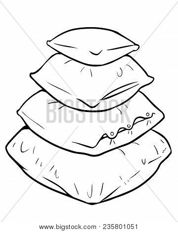 Pile Of Pillows. Vector Cartoon Illustration Of Four Square Pillows Isolated On White