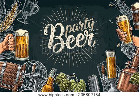 Horizontal Poster Beer Set With Tap, Glass, Bottle, Hop Branch With Leaf, Ear Of Barley, Barrel, Tan