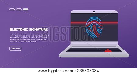 Scan Fingerprint On Laptop. Identification System. Biometric Authorization And Business Security Con